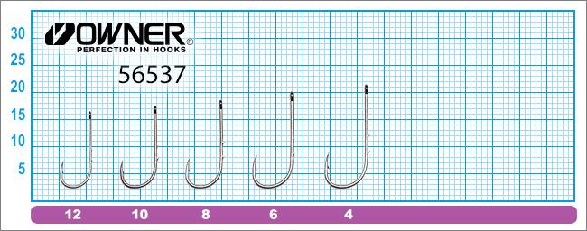 Размеры крючков Owner 56537 Worm BH-Round