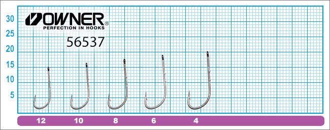 Размеры крючков Owner 56538 Worm BH-Sproat